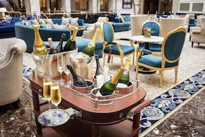 champagne trolly in hotel